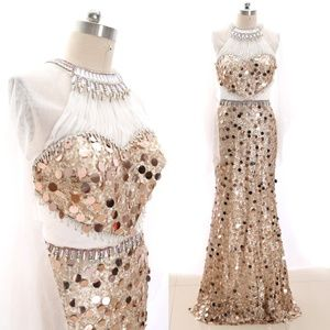 Dresses & Skirts - Illusion Sequin Prom Homecoming Dress Formal Gown
